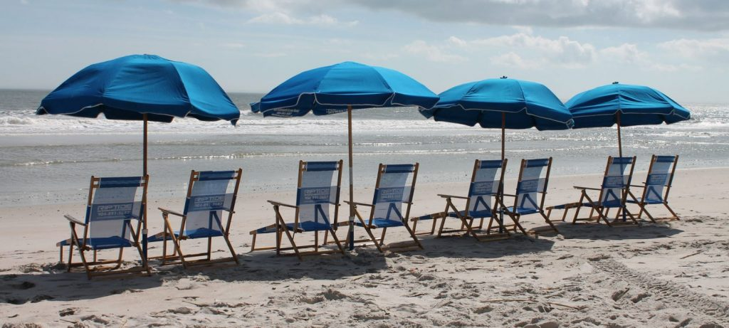 Beach chair rentals & umbrella service